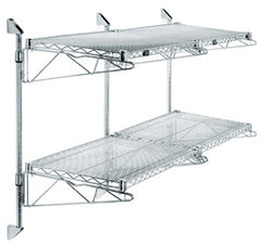 Wall Mounted Cantilever Wire Shelf Double Wide 2 Shelf System