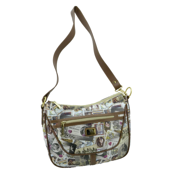 Mon Amour Borsa da Donna Hobo a Spalla, Rifiniture in Vera Pelle, Made in Italy