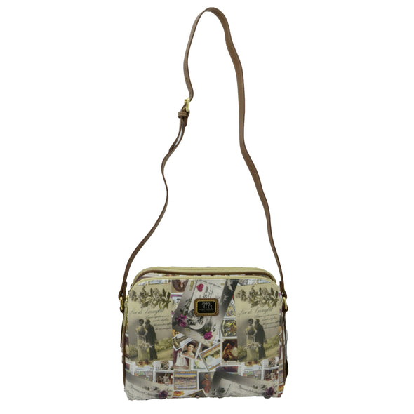 Mon Amour Borsa da Donna a Tracolla, con Rifiniture in Vera Pelle, Made in Italy