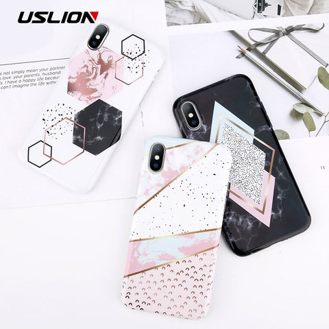 USLION Marble Silicon Phone Case For iPhone 6 6S Plus Candy Color Geometry Stone Cases For iPhone X 8 7 6 Plus Soft TPU Cover