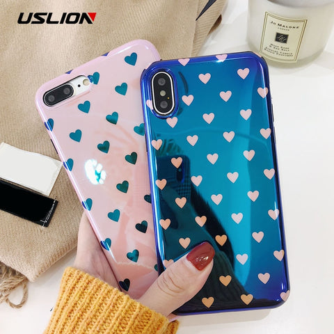 USLION Blu-ray Laser Gradient Case For iPhone X 8 Love Heart Phone Cases For iPhone 6 6S 7 8 Plus Glossy Soft Silicon Back Cover