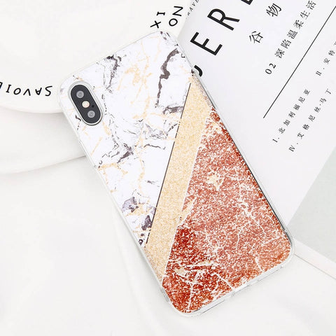 USLION Glitter Powder Marble Phone Case For iPhone 7 Plus Cases For iPhone X 8 7 6 6S Plus Glossy Stone Silicone Soft Back Cover