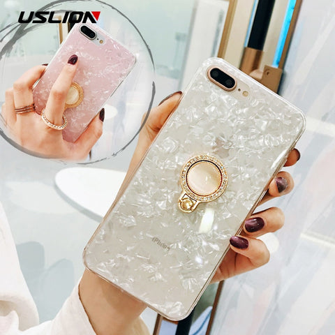 USLION Ring Stand Holder Case For iPhone 7 8 Plus Dream Shell Phone Cases For iPhone X 7 6 6s Plus IMD Silicone TPU Back Cover