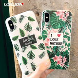 USLION Matte Green Leaves Phone Case For iPhone 7 8 Plus 3D Relief Flower Cases For iPhone X 7 6 6S Plus TPU Silicon Clear Cover