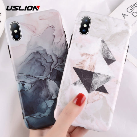 USLION Marble Phone Case for iPhone 8 7 Plus Green Leaves Stone Image Cases For iPhone X 7 6 6s Plus Silicon TPU Soft Back Cover