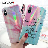 USLION Marble Case For iPhone 8 7 Plus Glitter Laser Stone Image Phone Cover Soft TPU Silicon Cases For iPhone X 7 6 6s Plus