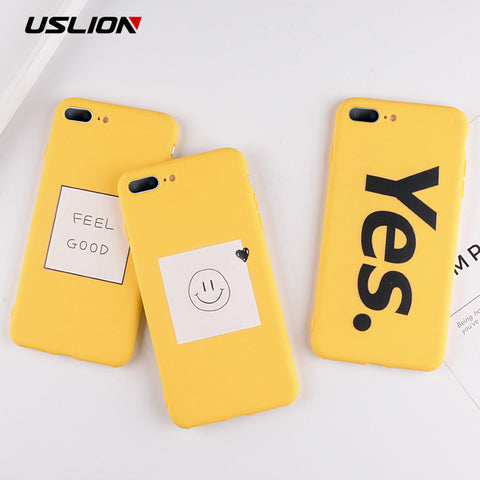 USLION Funny Letter Case For iPhone XS MAX XR XS X Cartoon Smile Silicon Phone Cases for iPhone 8 7 6 6S Plus 5 5s SE Soft Cover