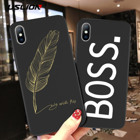 USLION Simple Letter Phone Case For iPhone X 6 S 7 8 Plus 5 5s SE Smile Feather Silicon Soft Cover For iPhone XS Max XR Cases