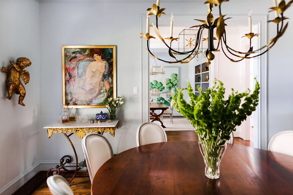 Dining room 19th century Regency table | French balloon back chairs | Robert Crowder framed wallpaper