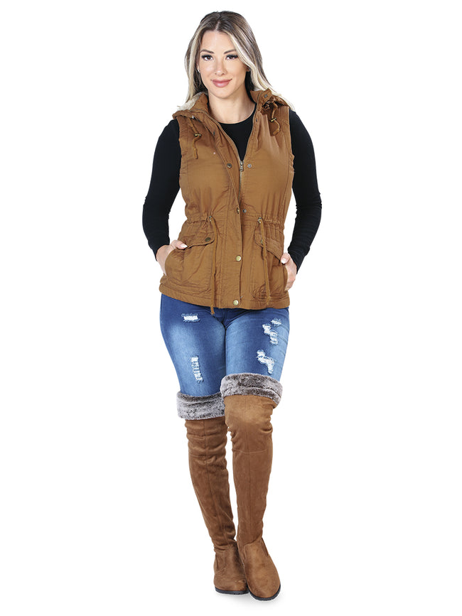 Fashion Removable Hood Drawstring-Cinched Waist Puffer Vest MN-V1500