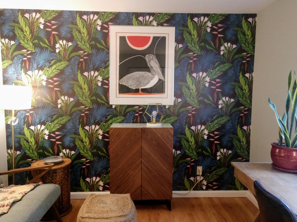 Tropical feature wall in home office