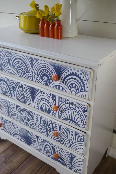 Peel and Stick wallpaper on dresser