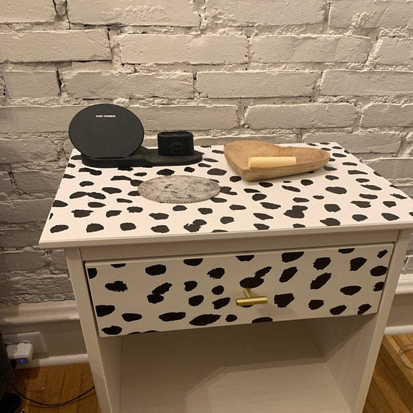 Dalmatian Dot peel and stick wallpaper on nightstand