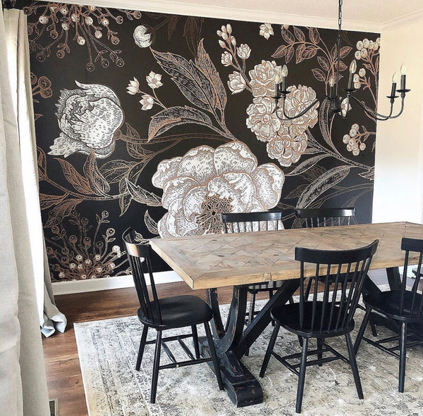 Black Wallpaper Feature Wall for Dining Room