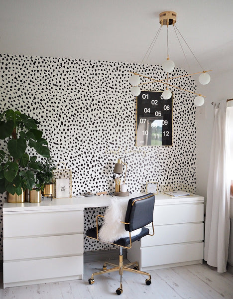 Black and white dalmatian feature wall