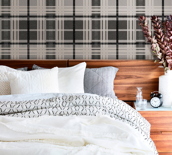 Tartan plaid peel and stick wallpaper