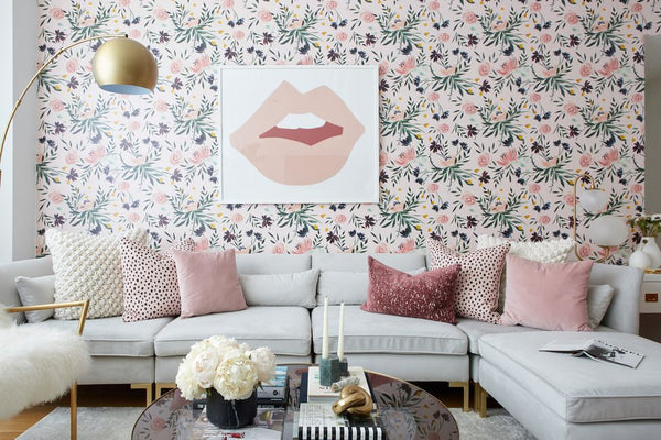 Floral living room feature wall