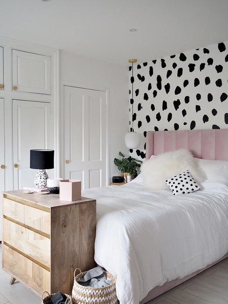 Black and White Dalmatian Bedroom feature wall