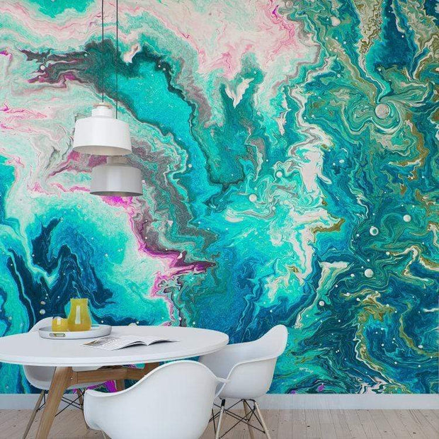 MUSE Wall Studio Aqua Swirl Marbleized Wall Mural