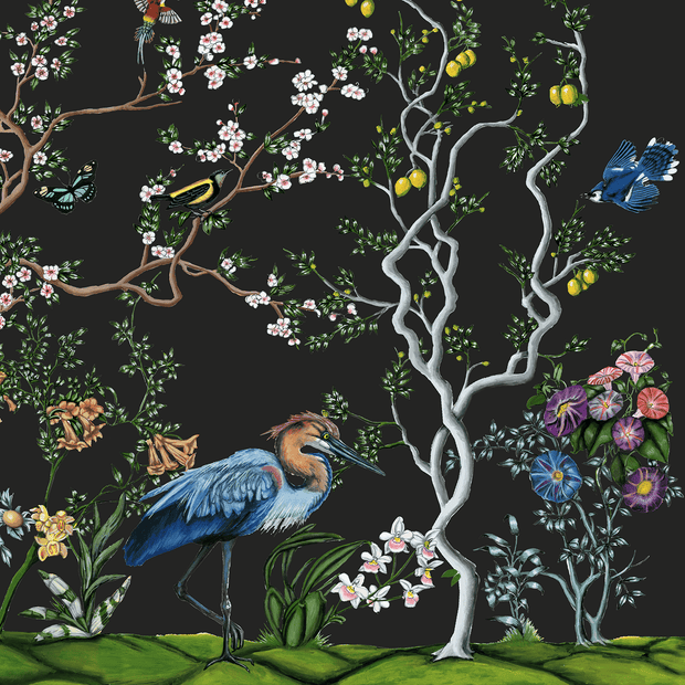 "MUSE Wall Studio Sample - 9"" wide by 6"" high Bird and Branch Mural in Charcoal"