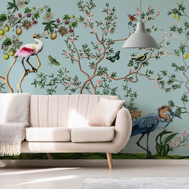 MUSE Wall Studio Bird and Branch Mural in Light Blue