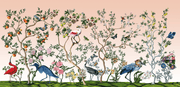 MUSE Wall Studio Bird and Branch Mural in Peach Sunrise