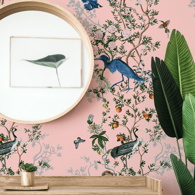 MUSE Wall Studio Climbing Bird and Branch in Pink