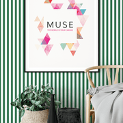 MUSE Wall Studio Green and White Stripes