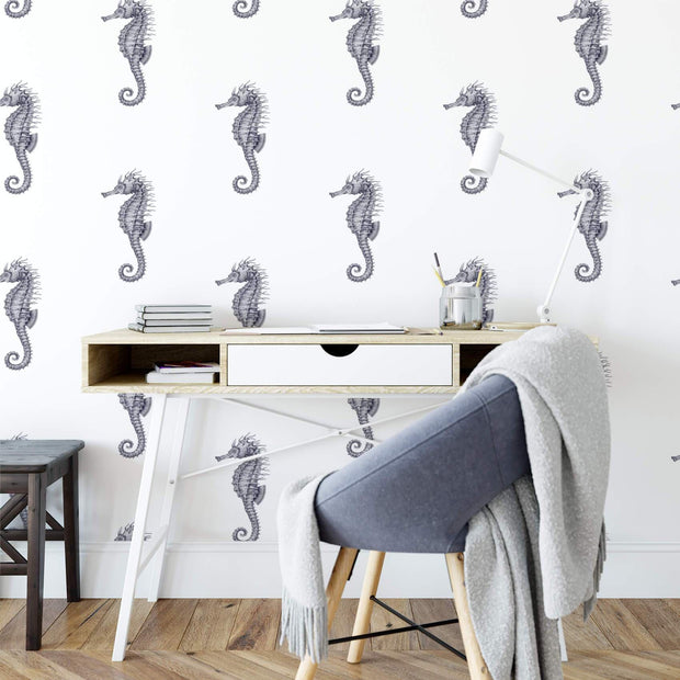 MUSE Wall Studio Ocean Seahorses on White