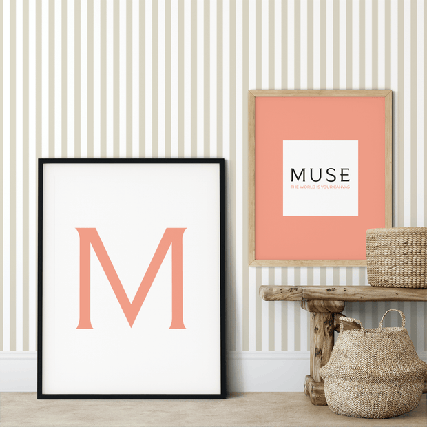 MUSE Wall Studio Tan and White Stripes