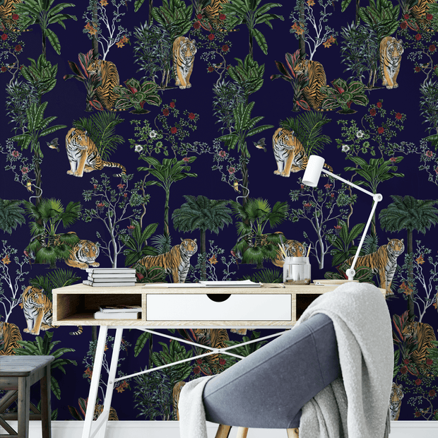 MUSE Wall Studio Tiger Tropics in Navy