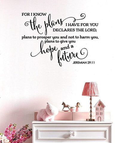 Vinyl for I Know The Plans I Have for You Bible Verse Wall Decal (24x61ch, Multicolour, Print_decal_005)