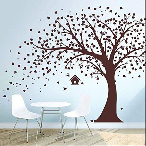 Large Windy Tree with Birdhouse Wall Decor(Multicolour)