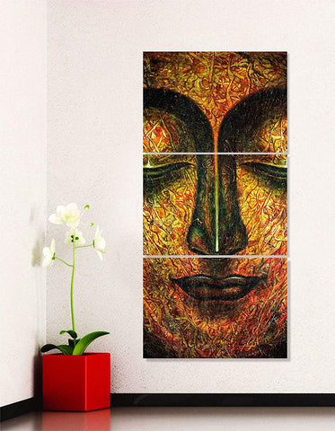 Lord Buddha Face Canvas Painting-3 Panels Framed Art Work
