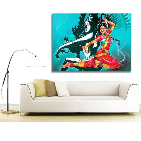 Rectangular Kerala Mural Art Unframed Canvas painting
