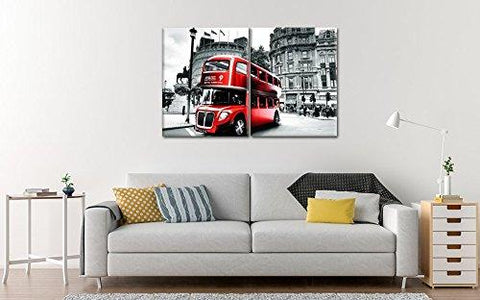 Red London Bus Canvas Wall Painting-Canvas Bus Art Print for Home Decor