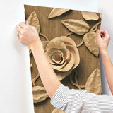 3D Golden Brown Roses Sticker Wallpaper-3D Flower Wallpaper
