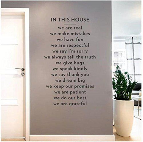 Wall Sticker for Bed Room Kids Room Living Room Hall Walls 'in This House Wall Decal Wall Sticker (PVC Vinyl, 91.44 cm X 53.34 cm)