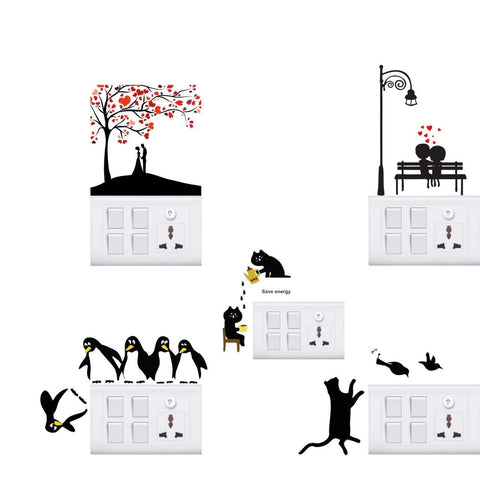 Funny Cute Penguins Wall Sticker (Vinyl, 35 cm x 0.1 cm x 35 cm, Set of 5)