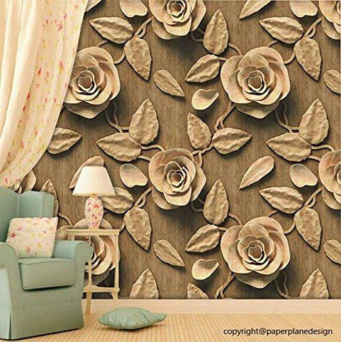 3D Golden Roses Self Adhesive Wallpaper