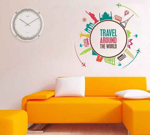 Travel Around The World' Wall Sticker (PVC Vinyl, 100 cm x 100 cm)