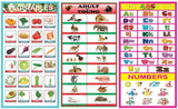 Children's Early Learning Thick Paper with Tape Educational Posters (12 x 18 inch) - Set of 10