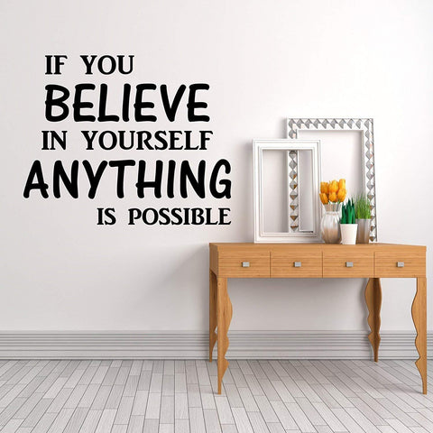 Wall Decal 'If You Believe' Wall Quote Vinyl Sticker, Home Decor (PVC Vinyl, 110 cm X 90 cm)
