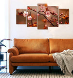 Flower stems art 5 panels wall Split Painting