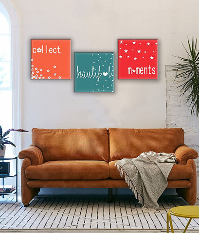 "3 Panels Painting ""Collect Beautiful Moments"""