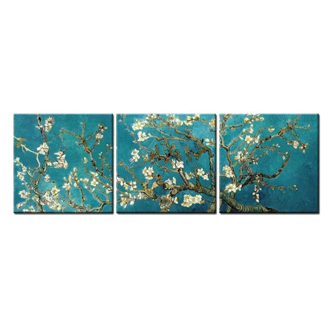 Branches Of An Almond Tree In Blossom By Van Gogh (3 Panel Painting)