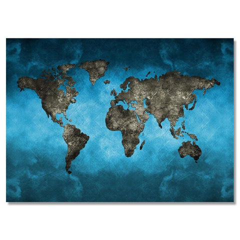 Blue World Map Canvas Wall Painting Unframed