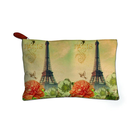 Eiffel Tower Printed Canvas Cosmetic Bag-Travel Case-Unisex