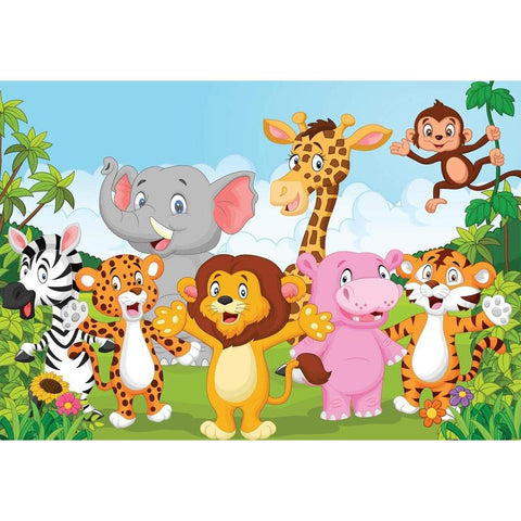 Jungle Cartoon Cute Animals Wall Sticker PVC Vinyl, 91.45 cm x 63.5 cm