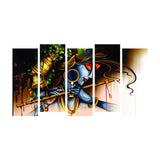 Lord Krishna 5 Panels Wall Art-Lord Krishna Split Painting